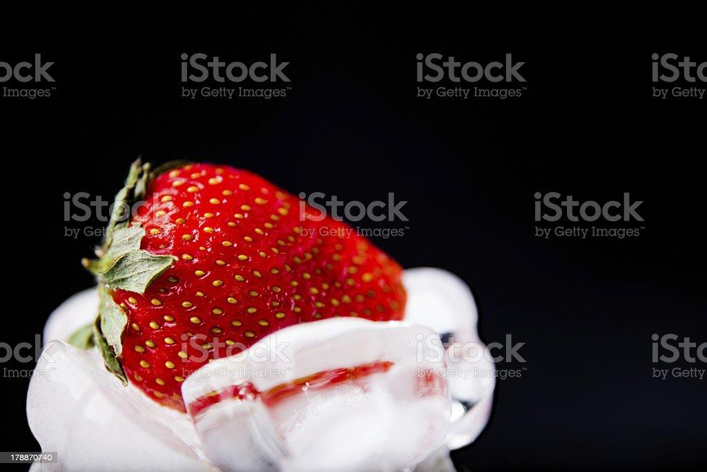 fresh strawberry in white ice on black background royalty-free stock photo