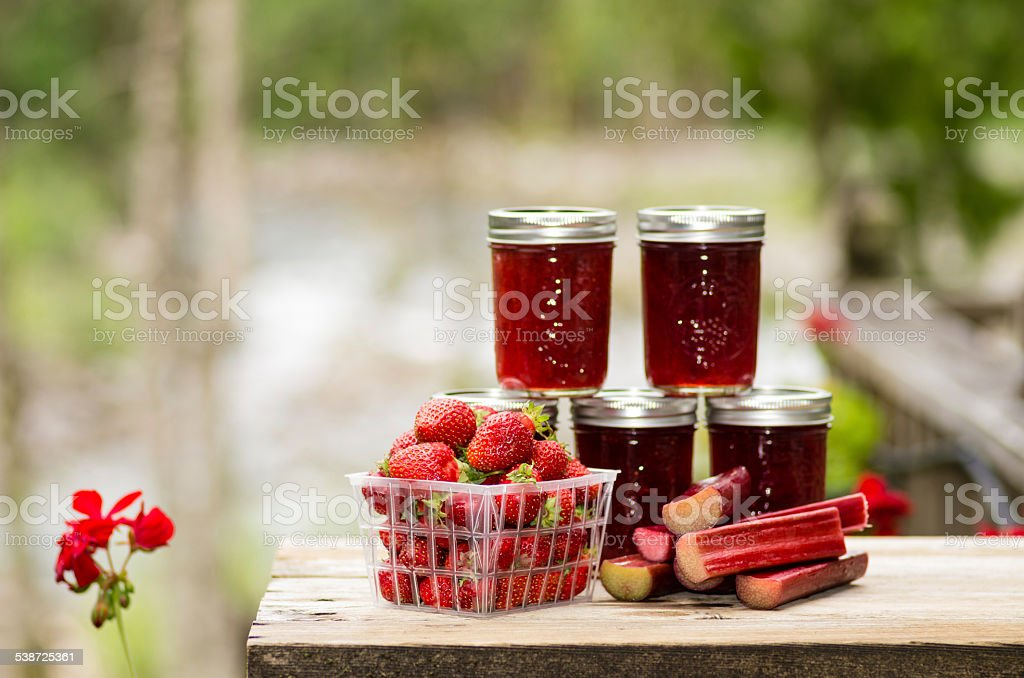 Fresh strawberry rhubarb jelly stock photo