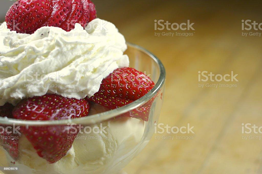 Fresh Strawberry Sundae with Whipped Cream royalty-free stock photo