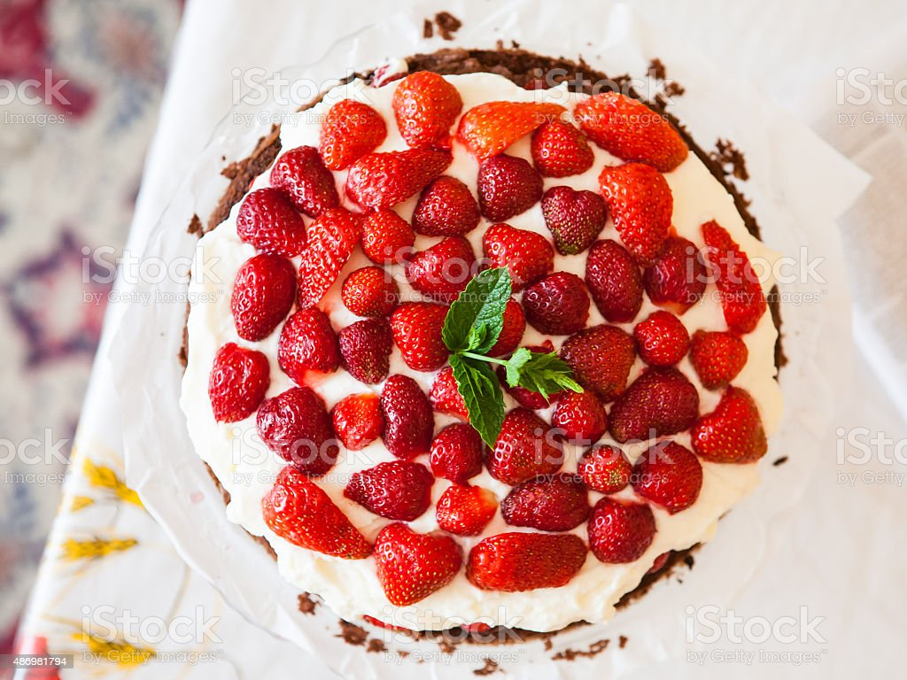 Fresh strawberry tart stock photo