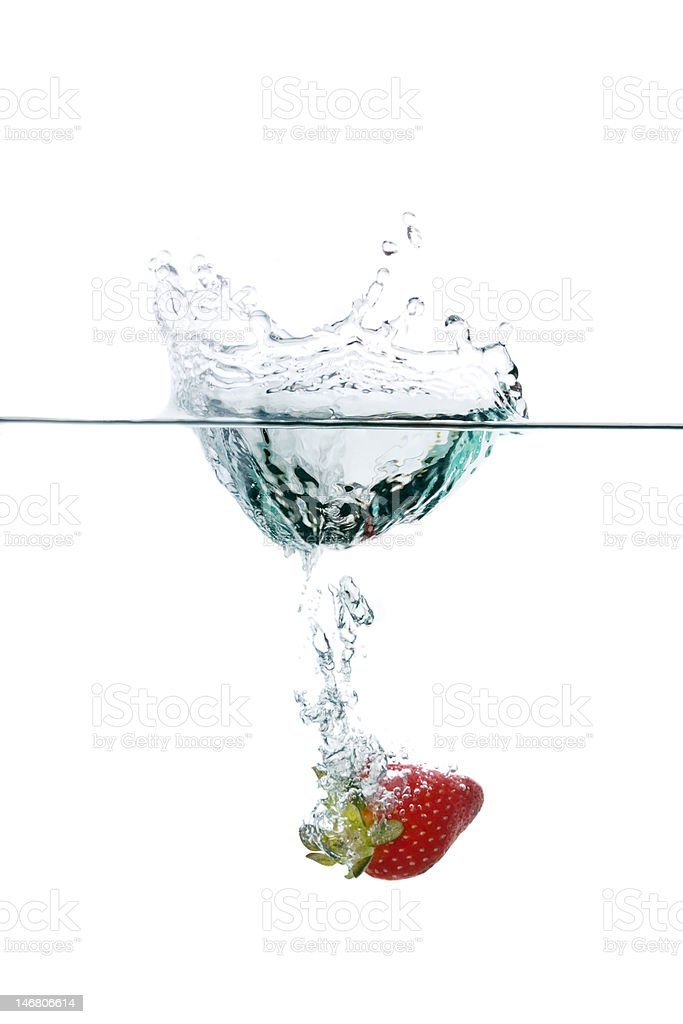 Fresh strawberry water splash royalty-free stock photo