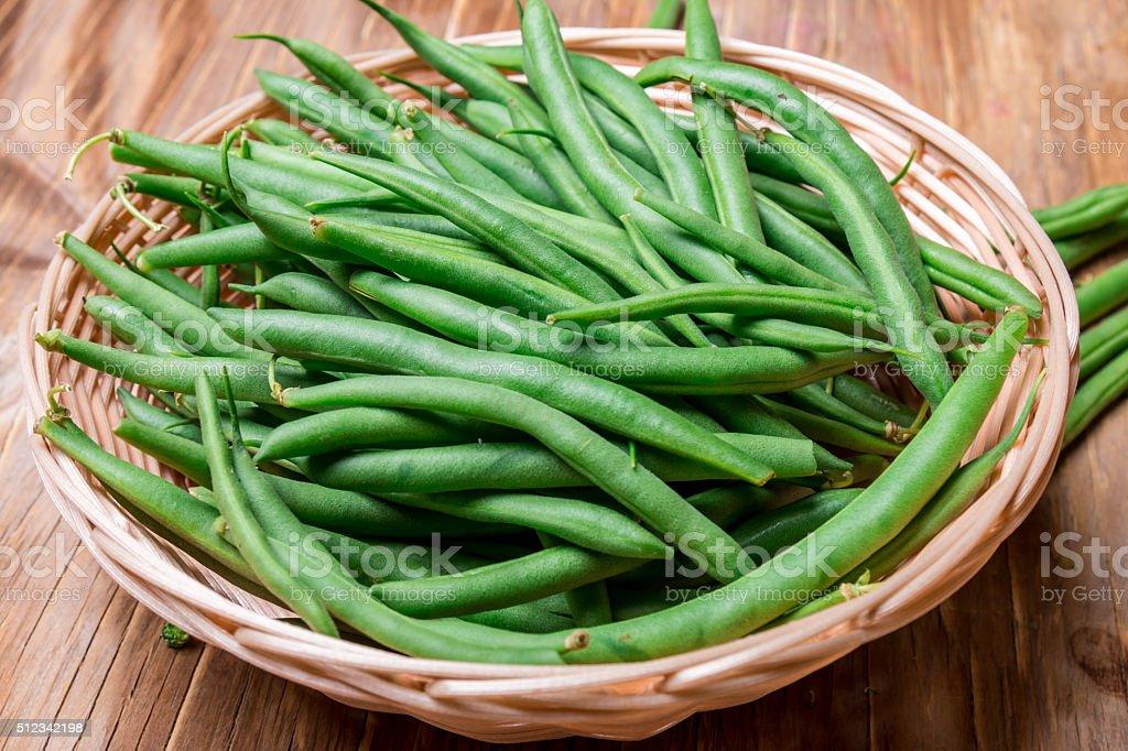 Fresh string beans green beans stock photo