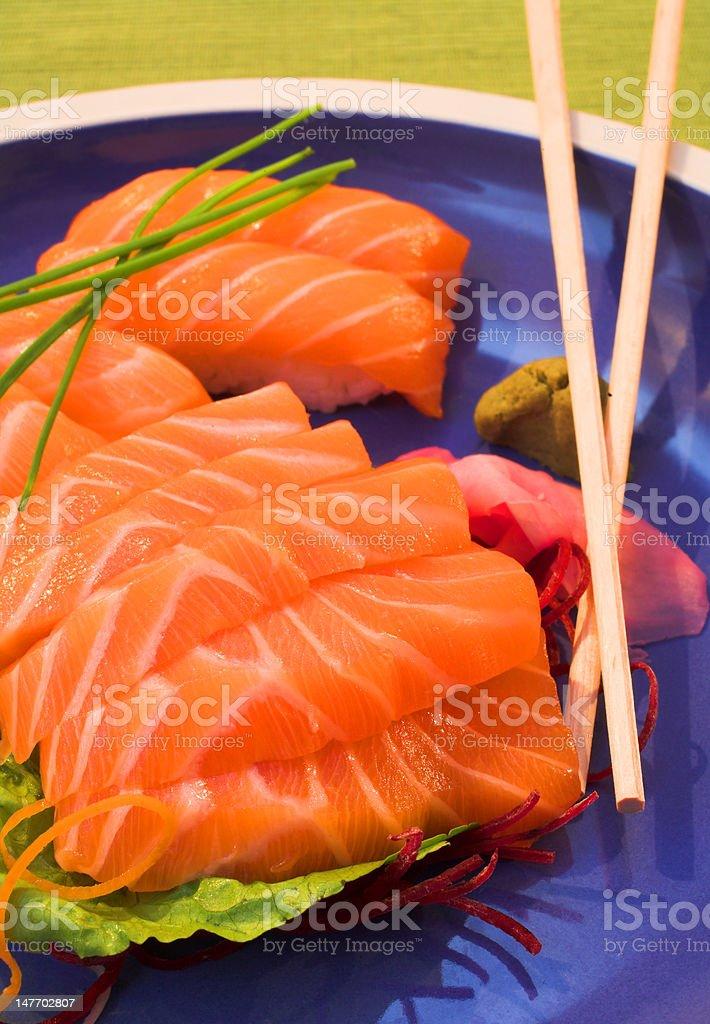 Fresh strips of Norwegian salmon Sashimi and rice Nigiri royalty-free stock photo