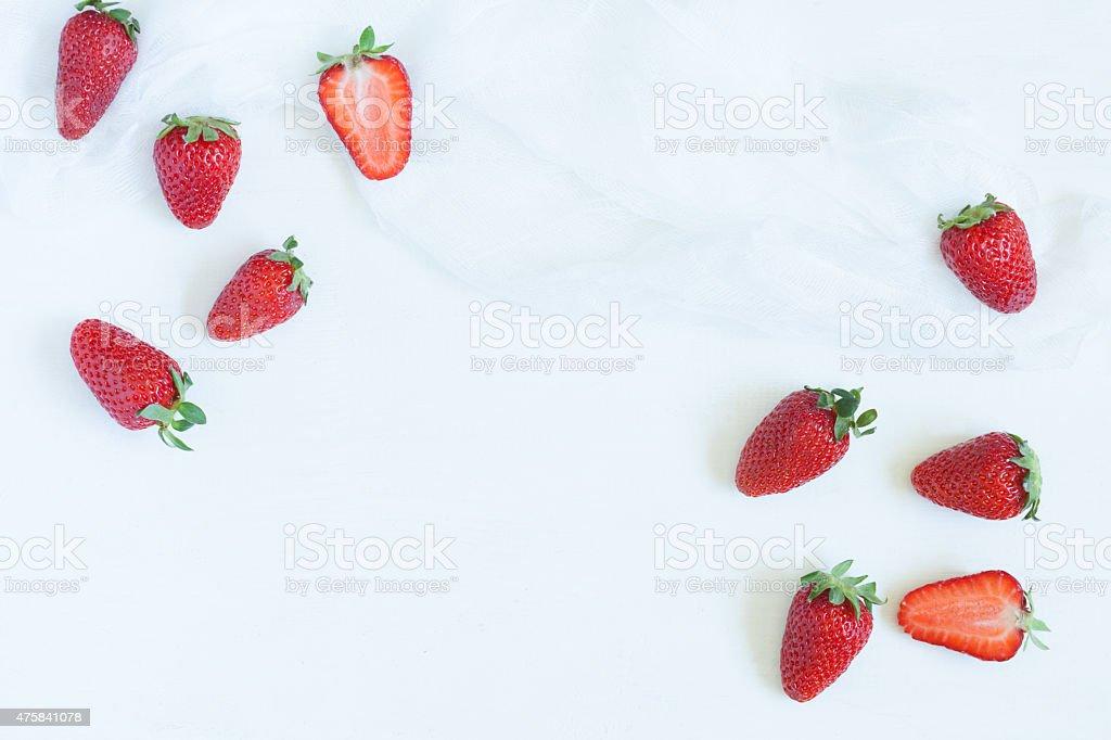Fresh summer strawberries vegetarian clean eating super vitamin food with stock photo