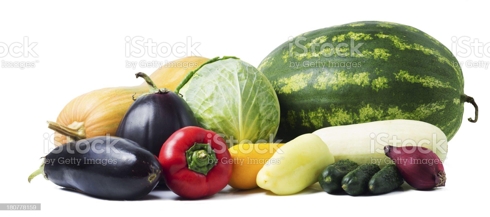 Fresh Summer Vegetables isolated on white background royalty-free stock photo