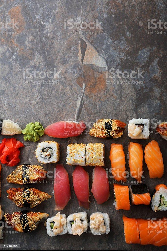 fresh sushi background stock photo