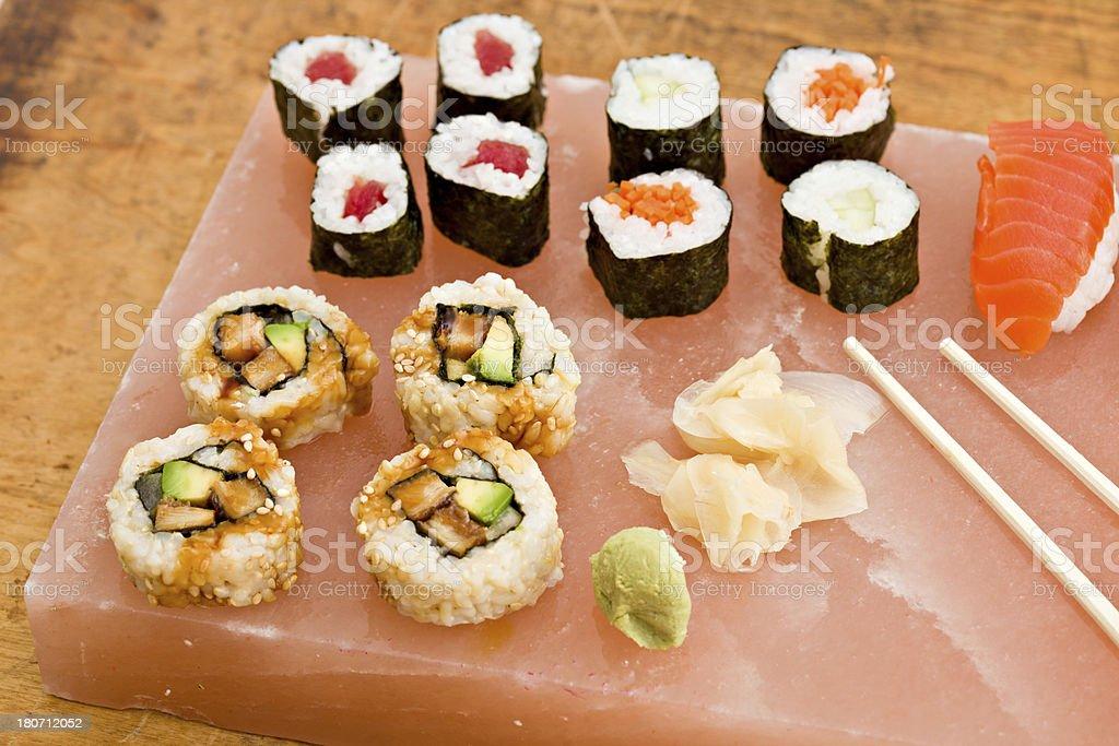 Fresh Sushi On A Salt Block royalty-free stock photo
