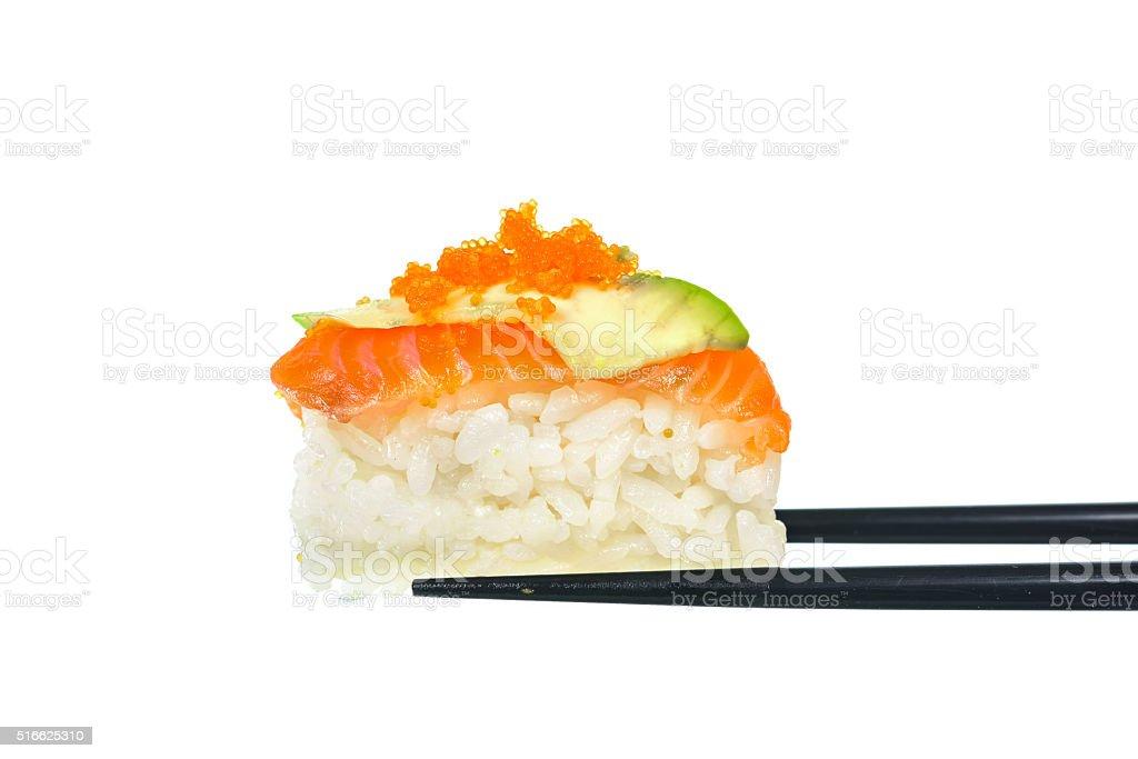 Fresh Sushi with black chopticks on white background stock photo