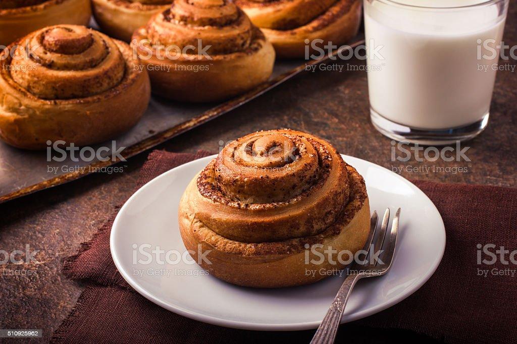 fresh sweet cinnamon rol stock photo