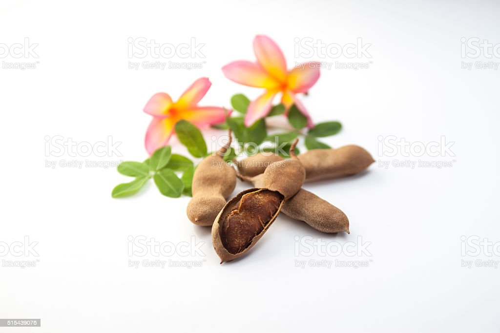 Fresh Tamarind with leaves stock photo