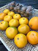 Fresh tangerines and walnuts