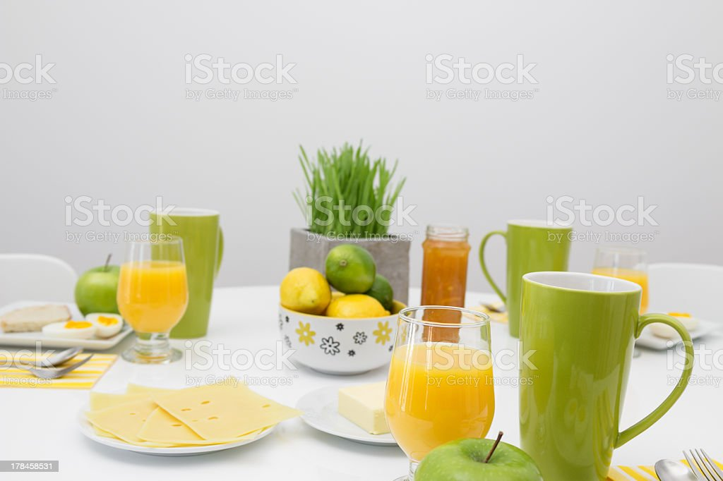 Fresh tasty breakfast in bright colors stock photo