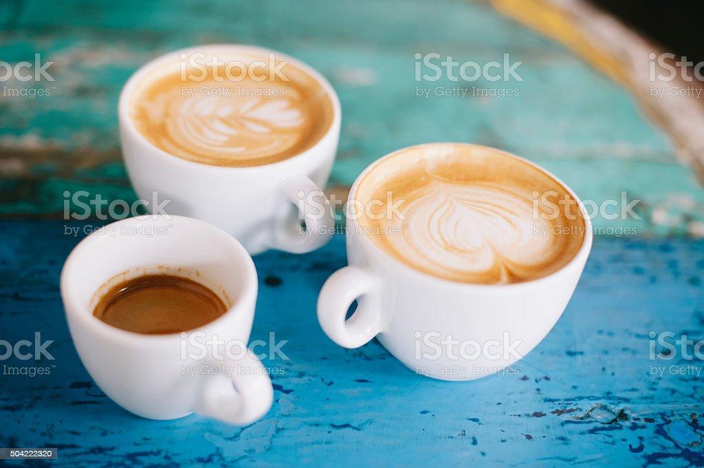 fresh tasty coffee on the coffee table stock photo