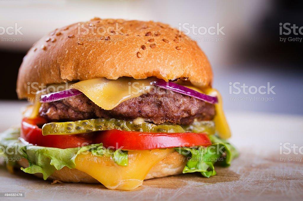 Fresh tasty homemade burger stock photo