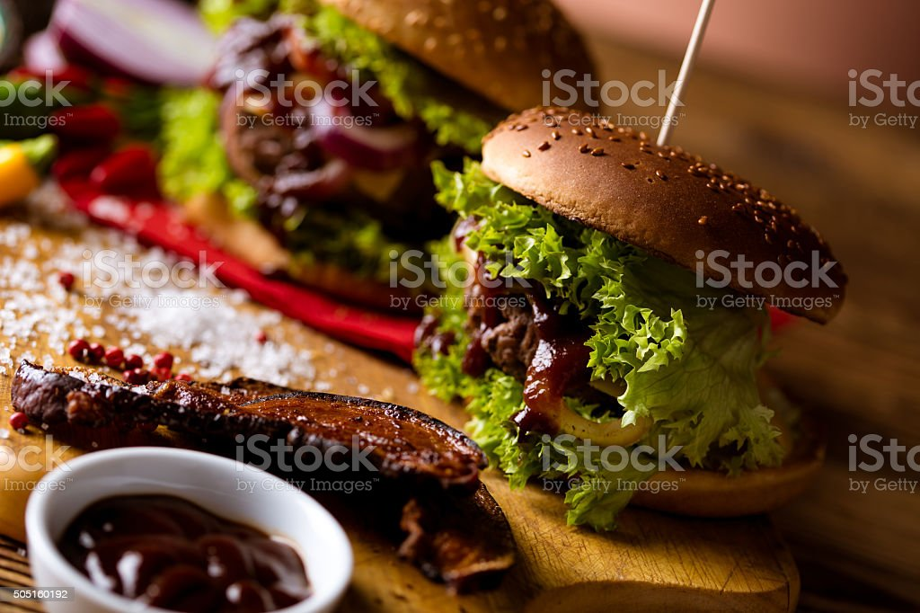 Fresh, tasty, traditional burgers, BBQ time stock photo