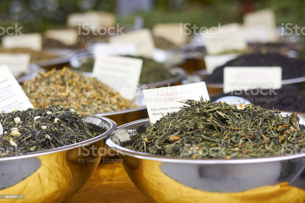 Fresh Tea Leaves For Sale In Bowls royalty-free stock photo