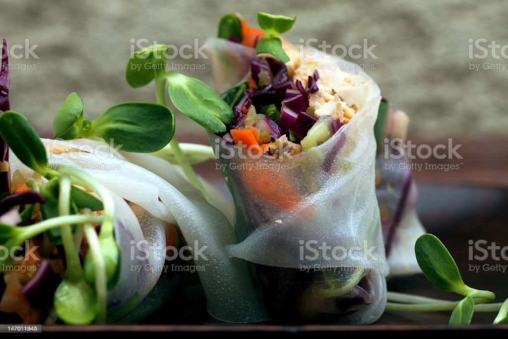 Fresh Thai Spring Rolls stock photo