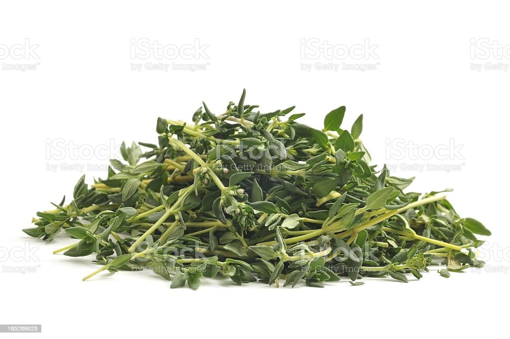 Fresh thyme chopped stock photo