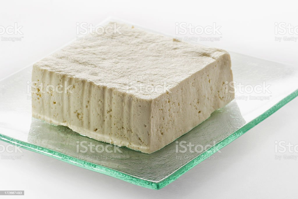 Fresh Tofu on Glass Plate royalty-free stock photo