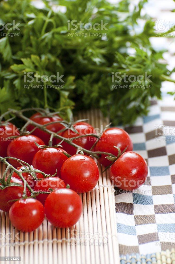 fresh tomato and parsley stock photo