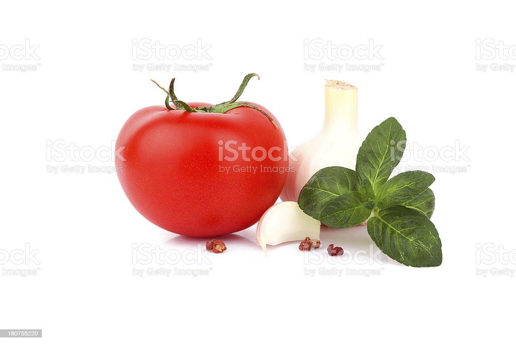 Fresh tomato and spice isolated on white background stock photo