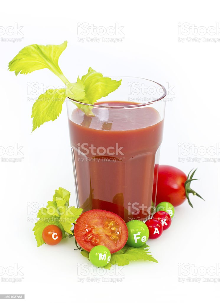 Fresh tomato juice in the glass royalty-free stock photo