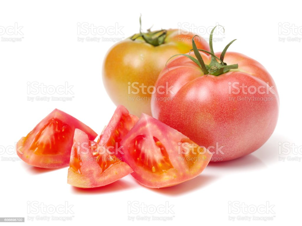 Fresh tomato separated with white stock photo