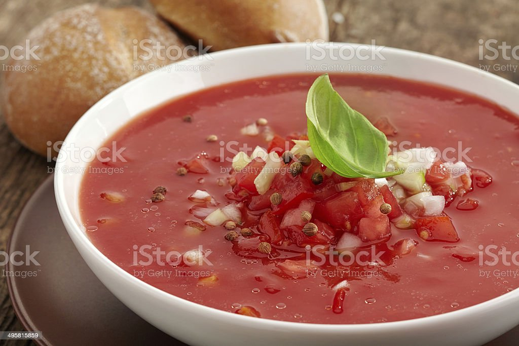 Fresh tomato soup Gazpacho stock photo