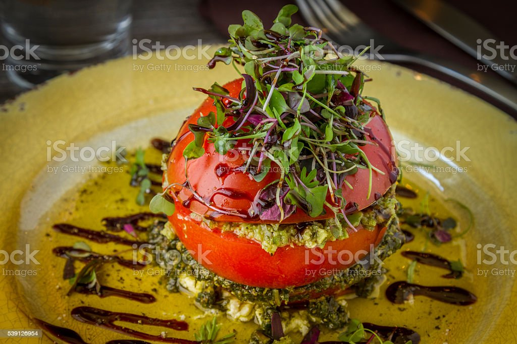 Fresh Tomato Tower with Olive Tapenade stock photo