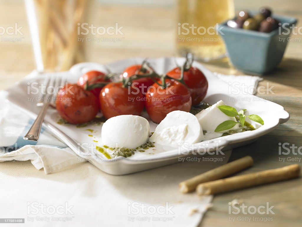 Fresh Tomatoes and Mozzarella Cheese royalty-free stock photo