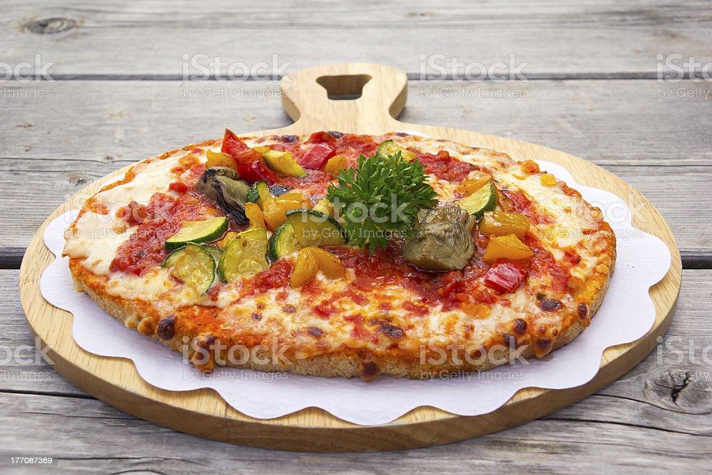 Fresh Tomatoes and roasted Zucchini Bruschetta royalty-free stock photo