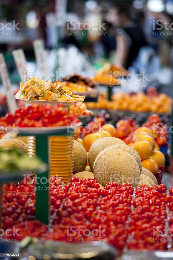 Fresh Tomatoes at an Outdoor Farmers Market royalty-free stock photo