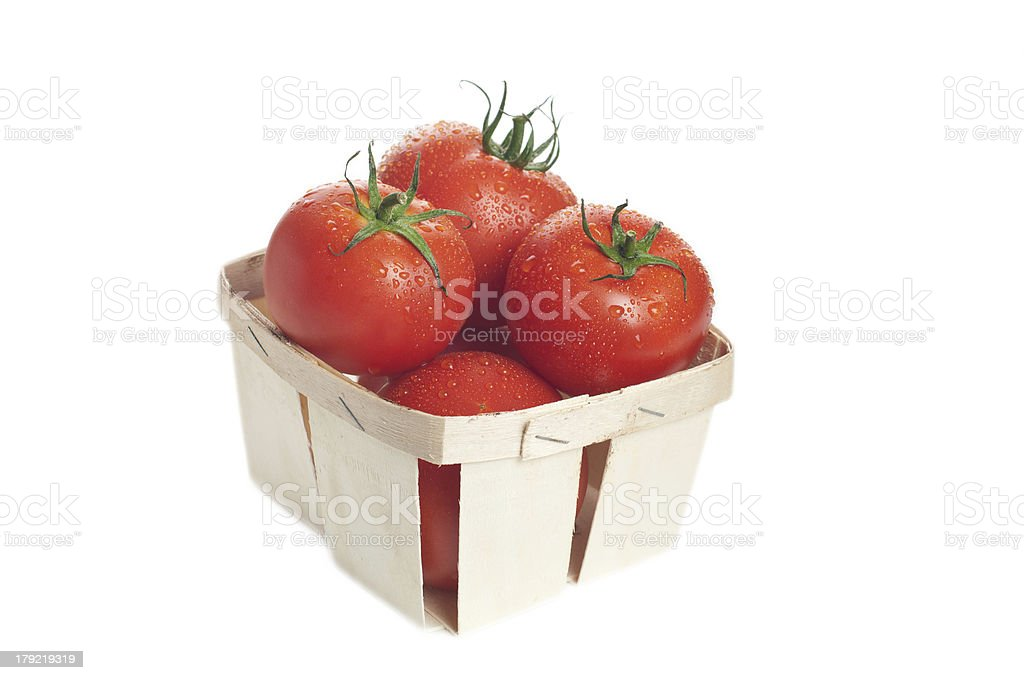 fresh tomatoes in the basket stock photo