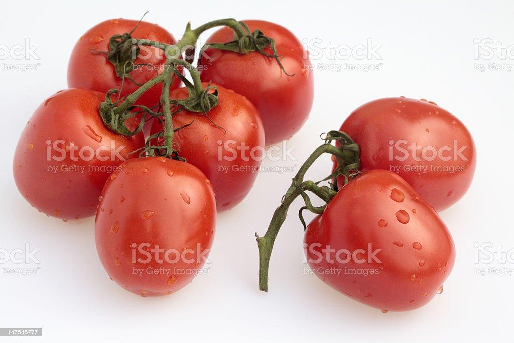 Fresh tomatoes isolated on white (XXXL) stock photo