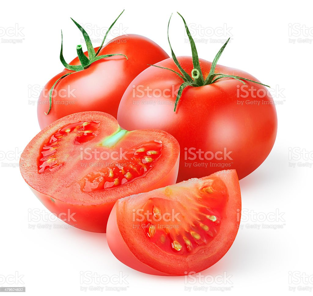 Fresh tomatoes isolated on white stock photo