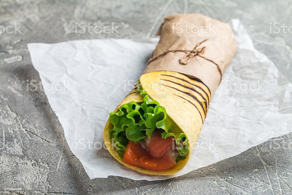 fresh tortilla wrap stock photo