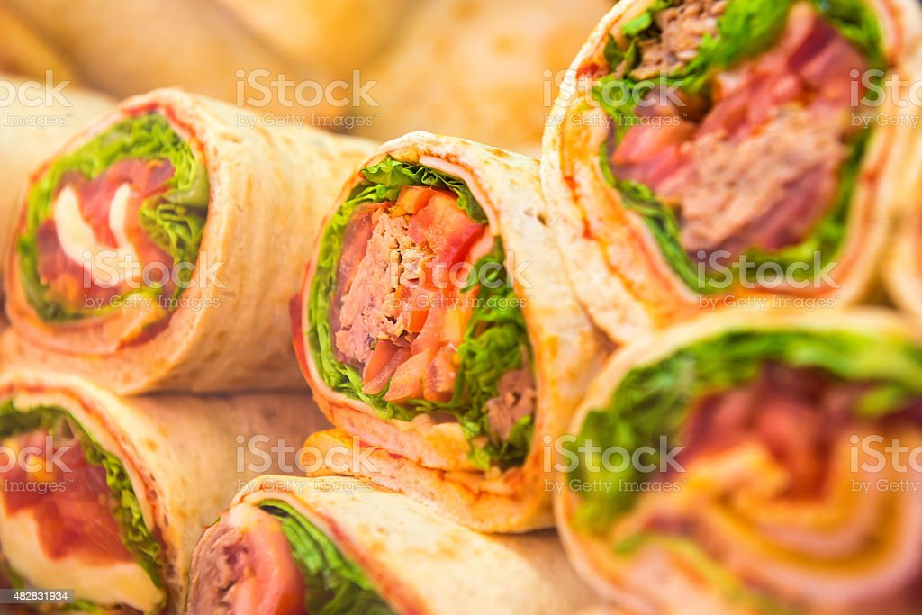 Fresh tortilla wraps with vegetables stock photo
