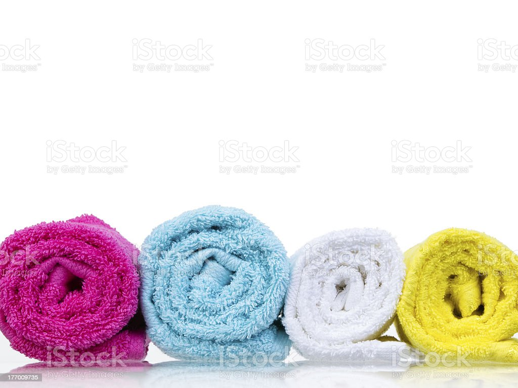 Fresh towels rolled-up front view royalty-free stock photo