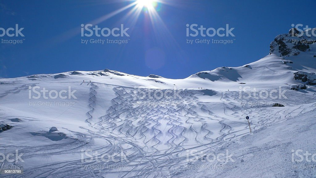 Fresh tracks, ski slopes royalty-free stock photo