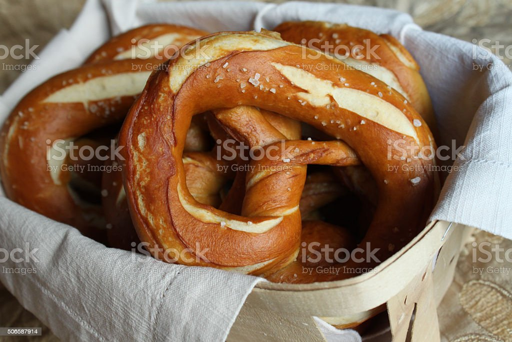 Fresh traditional Bavarian Pretzels stock photo