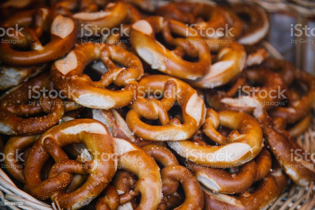 Fresh traditional Bavarian Pretzels stock photo