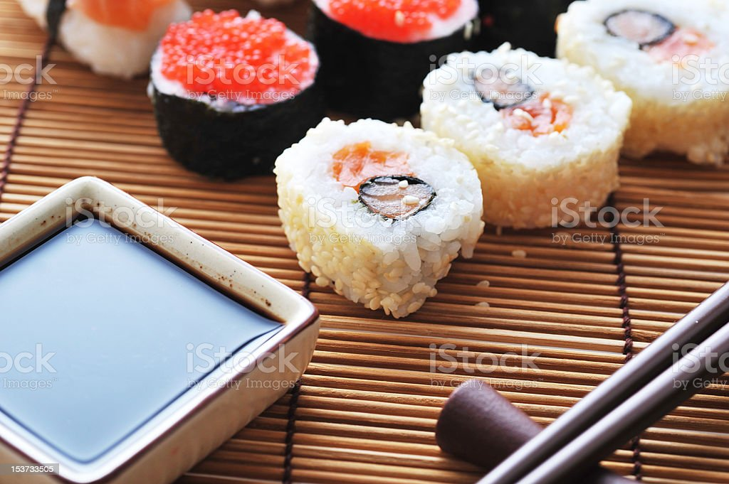 fresh traditional Japanese sushi royalty-free stock photo