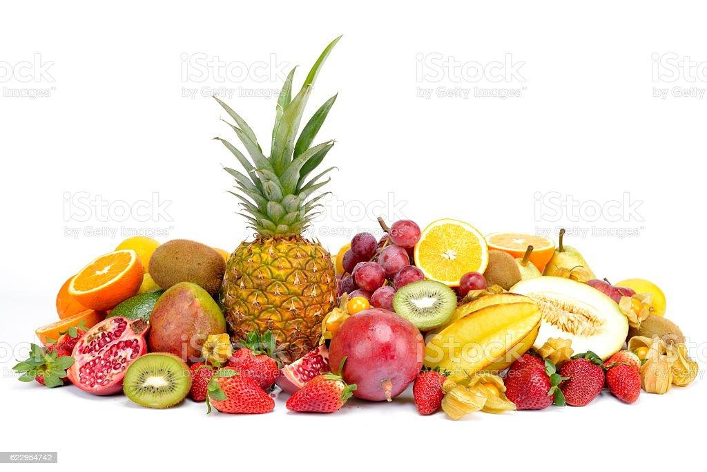 fresh tropical fruits isolated on white background stock photo
