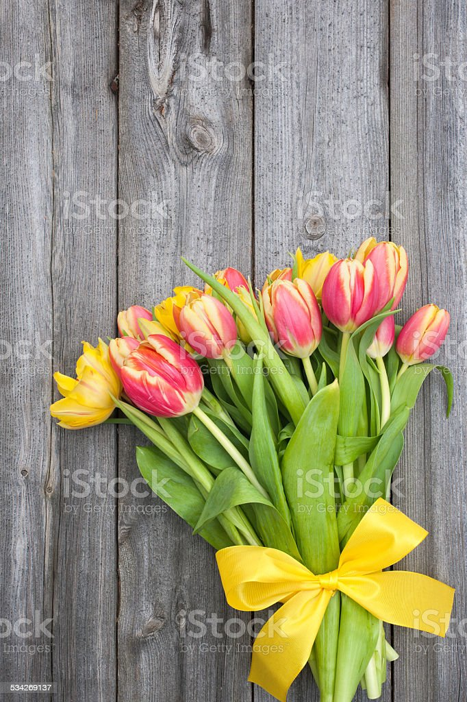 fresh tulips on wooden background stock photo