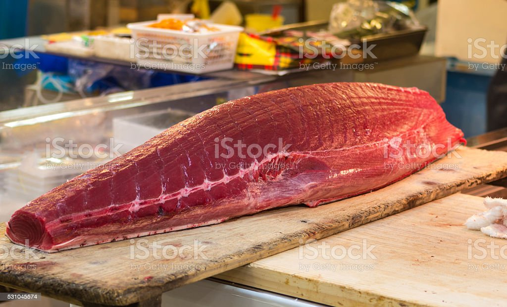 Fresh tuna fillet on the market in Tokyo stock photo