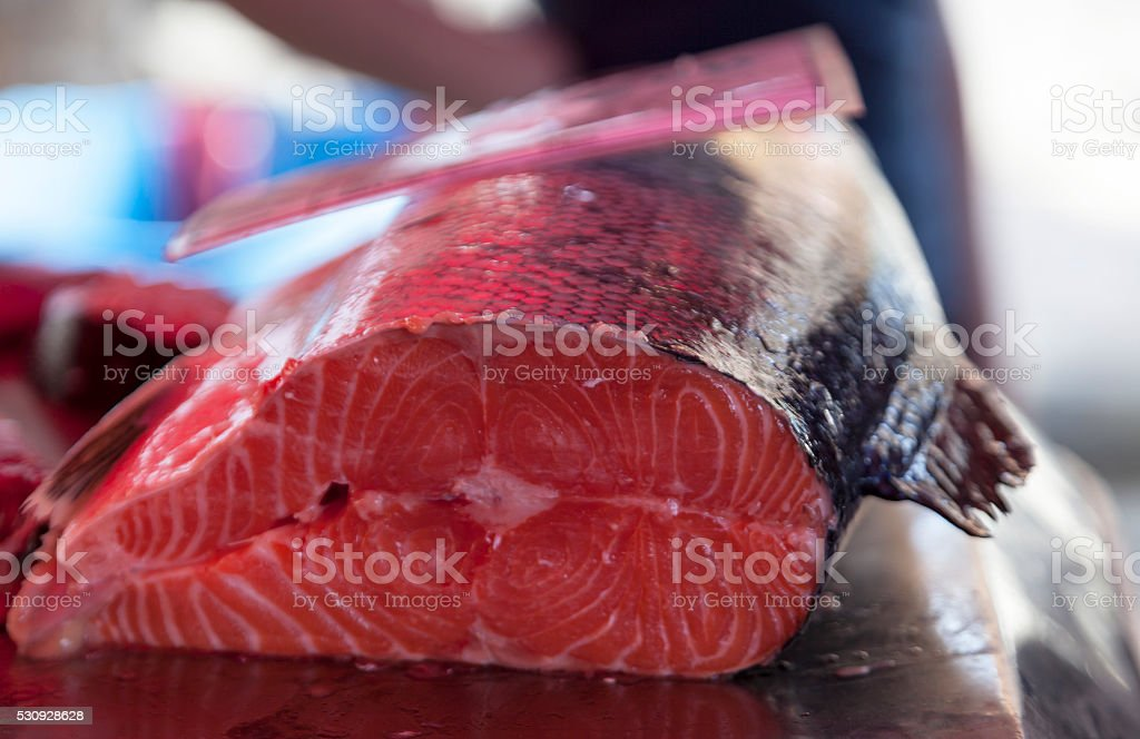 Fresh tuna in the fish market stock photo