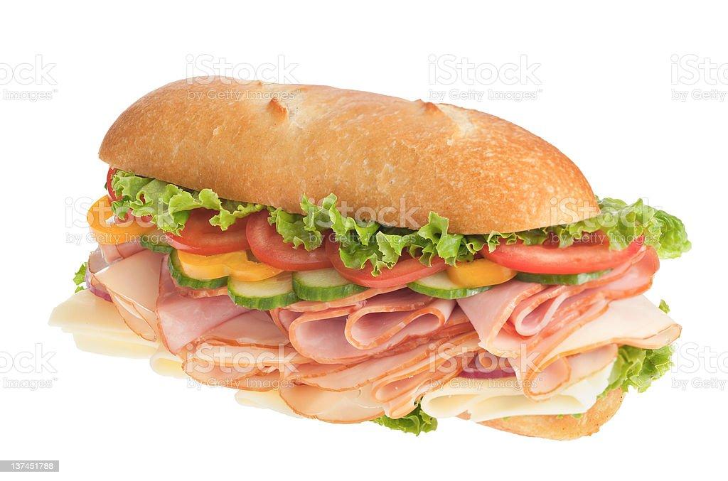 Fresh turkey & ham submarine sandwich royalty-free stock photo