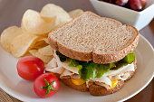 Fresh Turkey Sandwich on Wheat Bread with Potato Chips