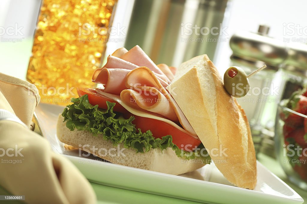 Fresh Turkey Sandwich with Lettuce and Tomatoes royalty-free stock photo