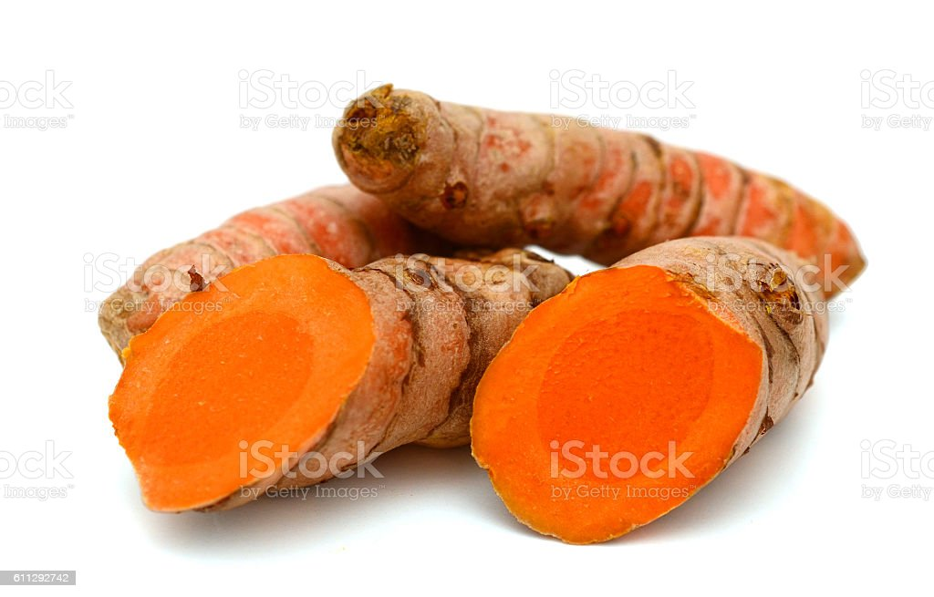 Fresh turmeric isolated on white background stock photo